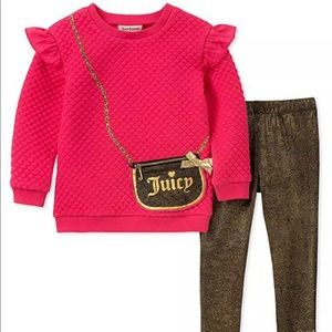 Juicy Couture Pink & Gold Purse Ruffled Outfit